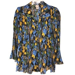 Beautiful Floral Gypsy Blouse, Size XL